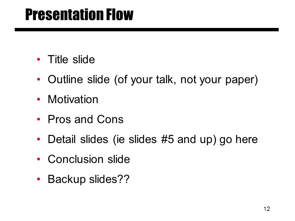 11 Presentation Files Session Chairpersons will collect and review all presentations in advance of the Symposium One file per speaker File totally self contained Avoid links to: –Other files –The internet Test multimedia f/x prior to your session time using the speaker preparation computers