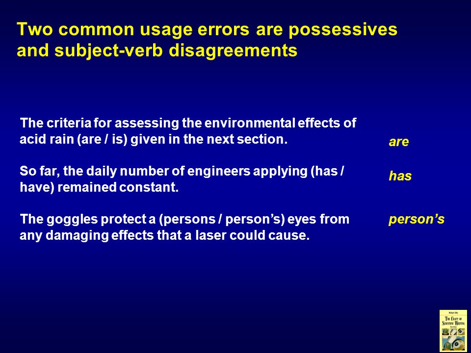 The criteria for assessing the environmental effects of acid rain (are / is) given in the next section.