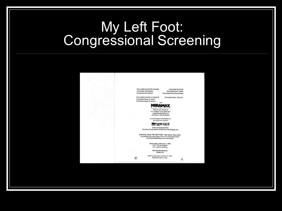 My Left Foot: Congressional Screening