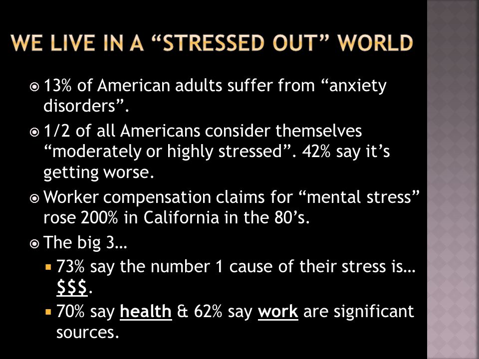  13% of American adults suffer from anxiety disorders .