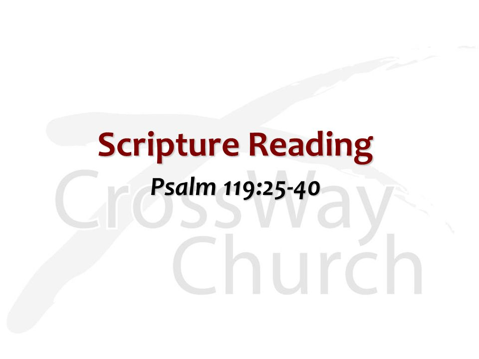 Scripture Reading Psalm 119:25-40