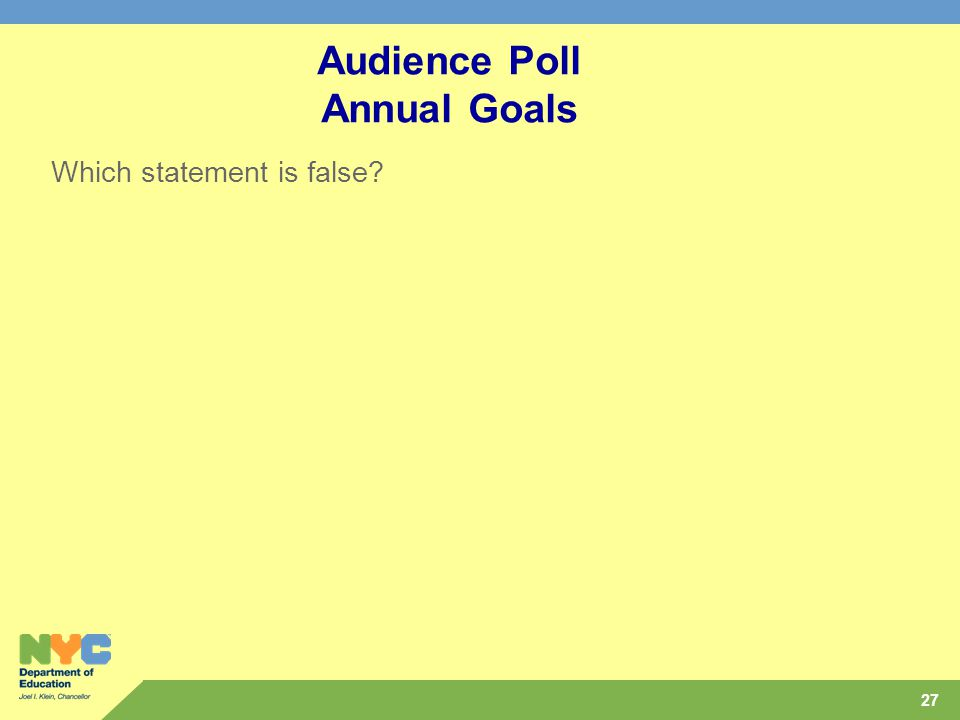 27 Audience Poll Annual Goals Which statement is false