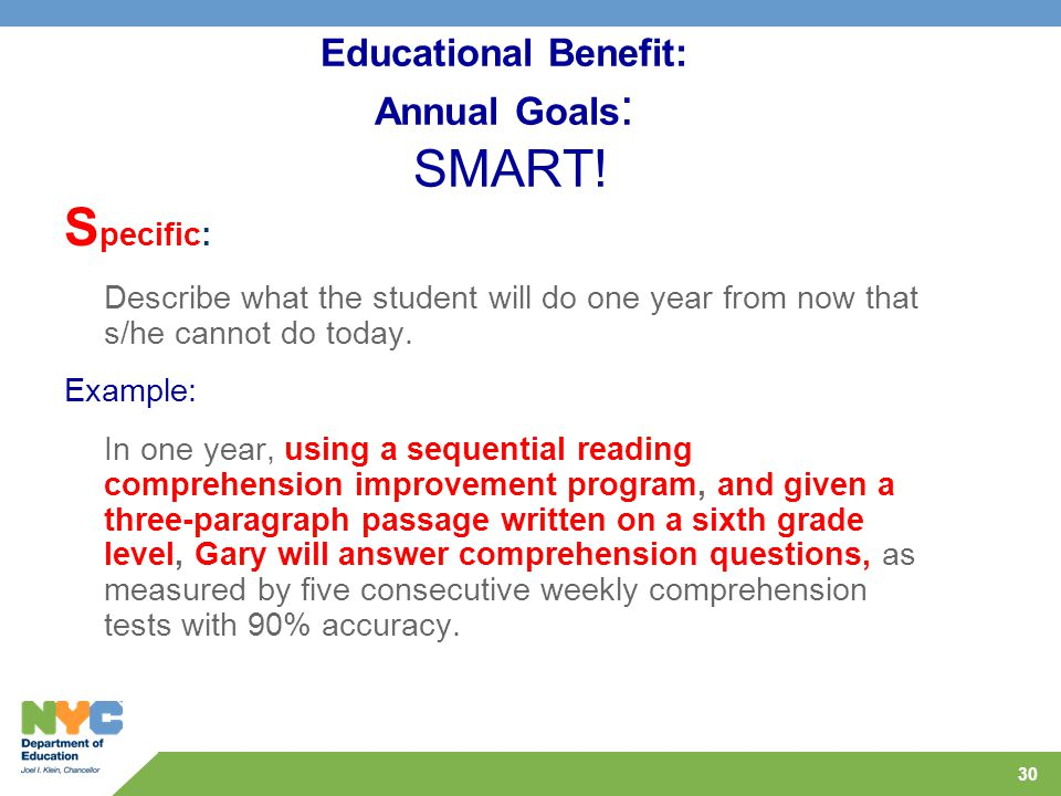 30 Educational Benefit: Annual Goals : SMART.