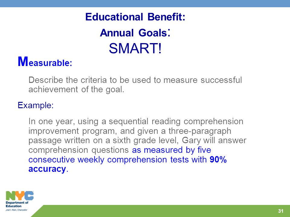 31 Educational Benefit: Annual Goals : SMART.