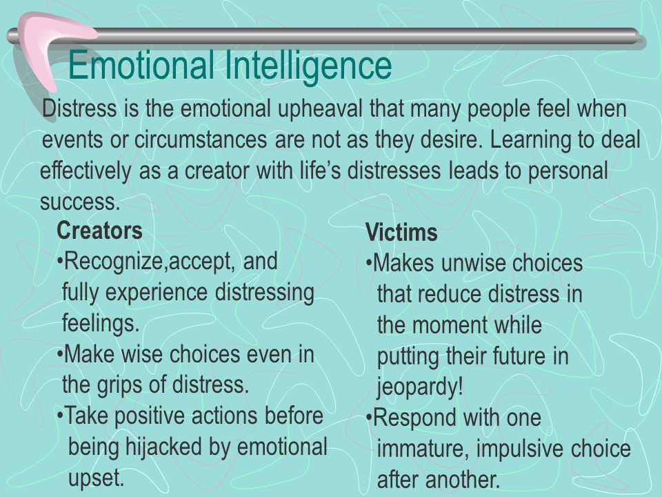 Emotional Intelligence Distress is the emotional upheaval that many people feel when events or circumstances are not as they desire. Learning to deal