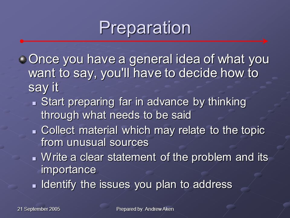 21 September 2005 Prepared by: Andrew Aken Initial Planning Before you begin preparing the presentation, you ll need to determine: 1.