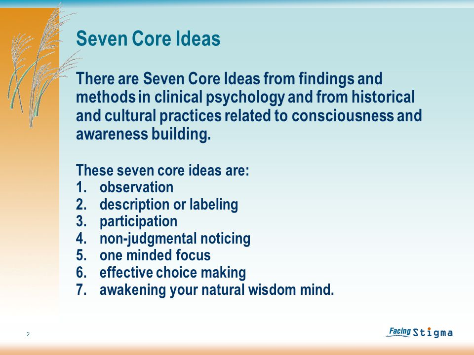 2 Seven Core Ideas There are Seven Core Ideas from findings and methods in clinical psychology and from historical and cultural practices related to consciousness and awareness building.