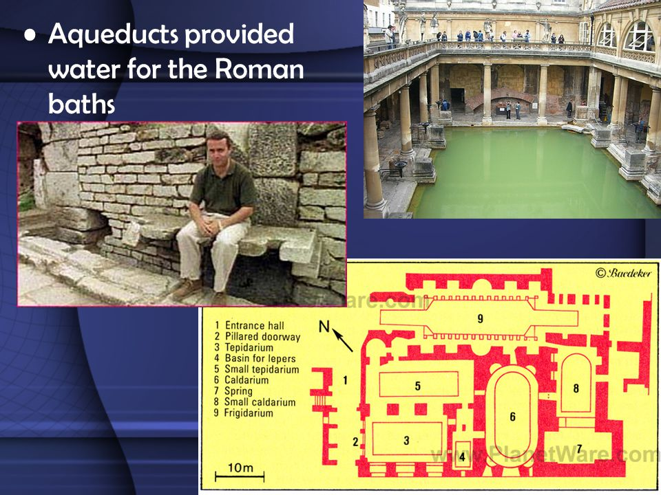 Aqueducts provided water for the Roman baths