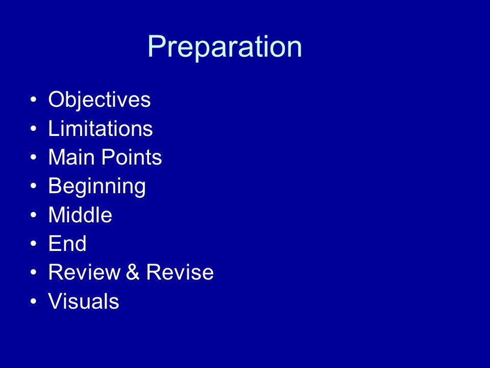 Preparation Objectives Limitations Main Points Beginning Middle End Review & Revise Visuals