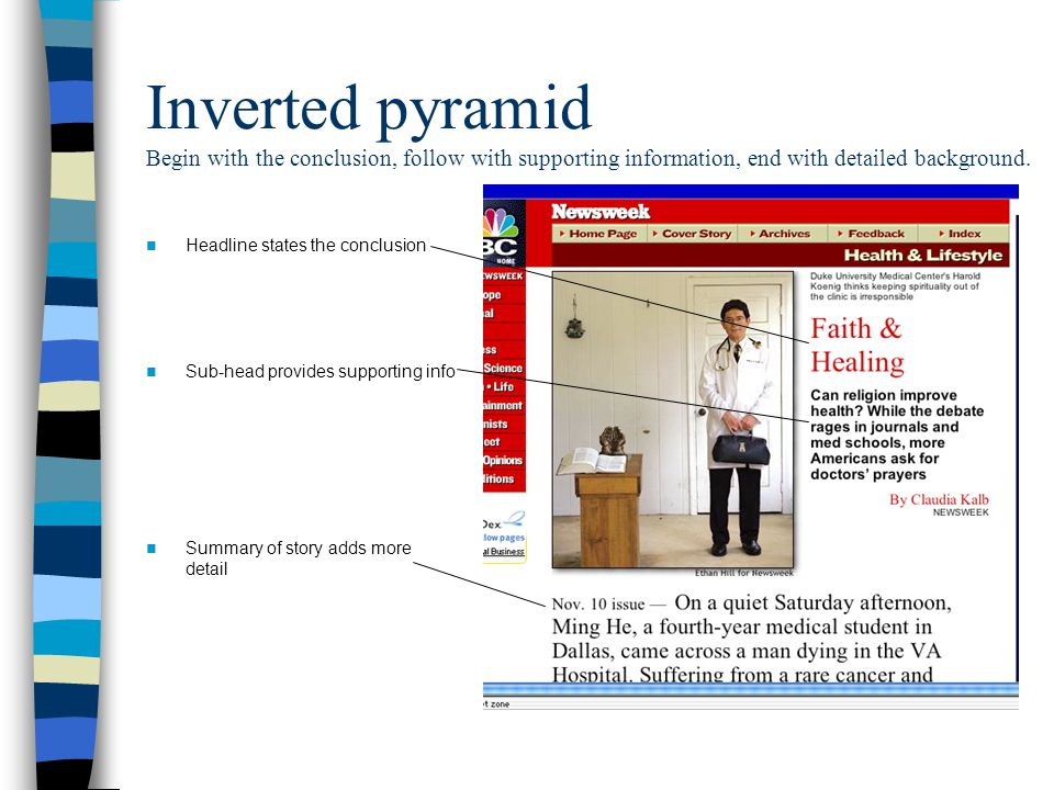 Inverted pyramid Begin with the conclusion, follow with supporting information, end with detailed background. Headline states the conclusion Sub-head