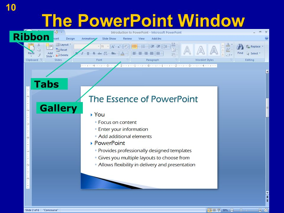 The PowerPoint Window 10 Tabs Ribbon Gallery