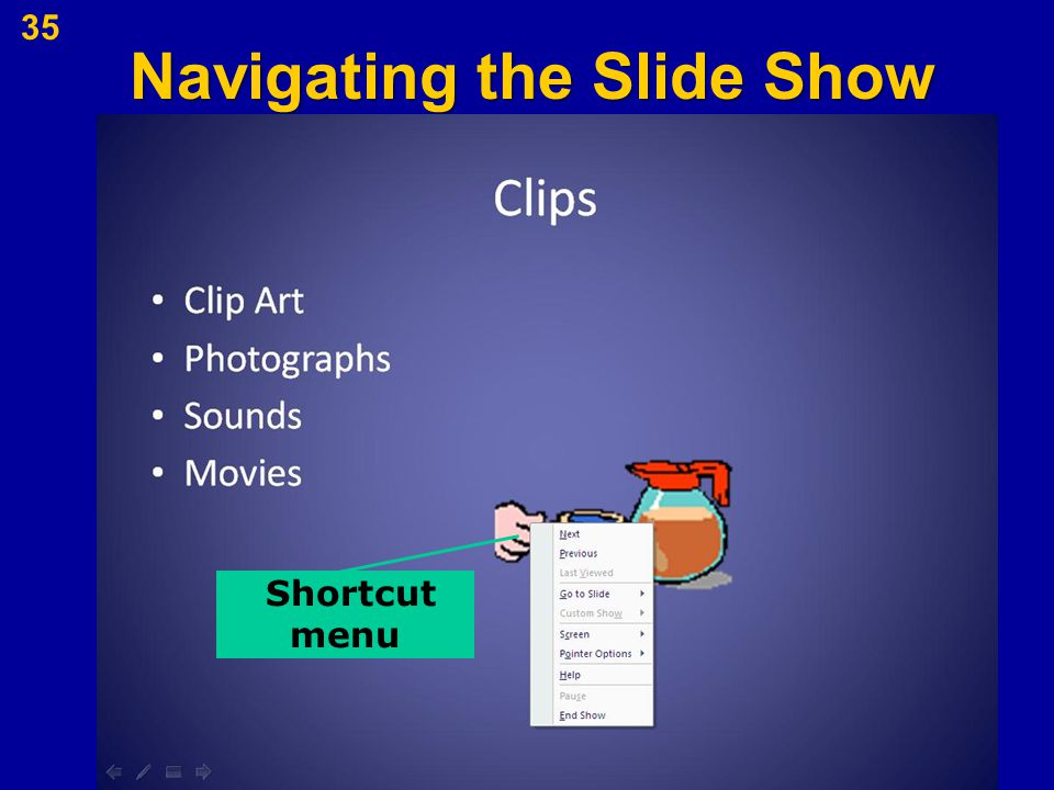 Navigating the Slide Show 35 Shortcut menu