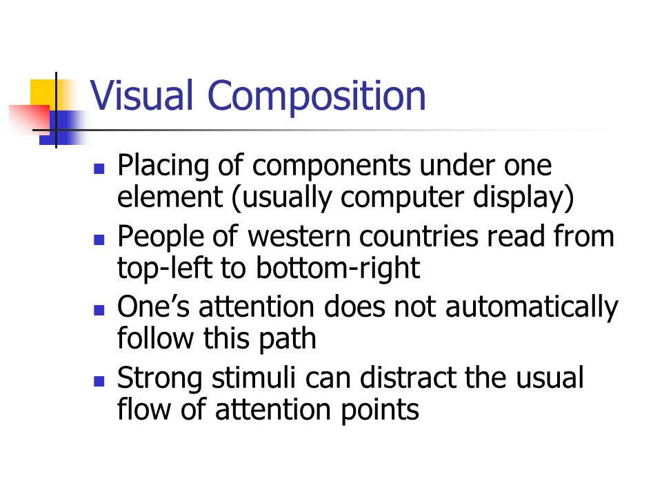 Example This slide uses a bit differend visual design template Since the visual composition has changed, some viewer's could find this slide distracting