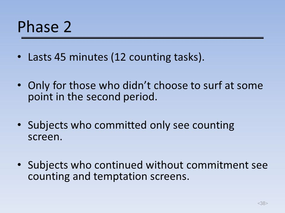 Phase 2 Lasts 45 minutes (12 counting tasks). Only for those who didn't choose to surf at some point in the second period. Subjects who committed only