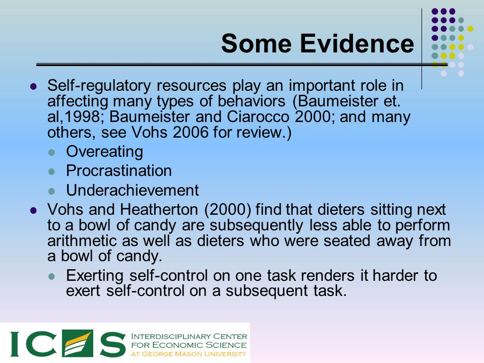 Some Evidence Self-regulatory resources play an important role in affecting many types of behaviors (Baumeister et. al,1998; Baumeister and Ciarocco 2
