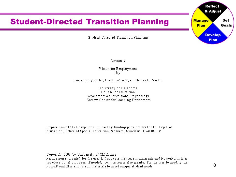 Student-Directed Transition Planning 21 Assessment Measures of your job interests, strengths, needs, and performance Job locations could be on school or in your community.