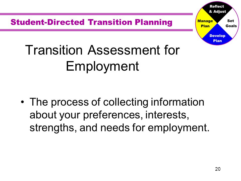 Student-Directed Transition Planning 20 Transition Assessment for Employment The process of collecting information about your preferences, interests,