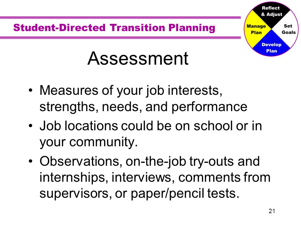 Student-Directed Transition Planning 21 Assessment Measures of your job interests, strengths, needs, and performance Job locations could be on school