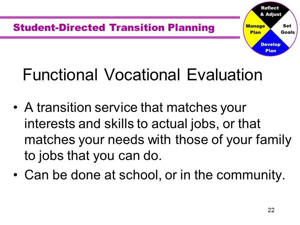 Student-Directed Transition Planning 22 Functional Vocational Evaluation A transition service that matches your interests and skills to actual jobs, o