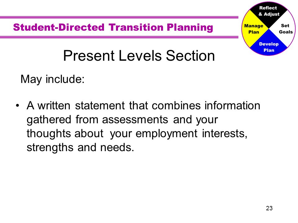 Student-Directed Transition Planning 23 Present Levels Section A written statement that combines information gathered from assessments and your though