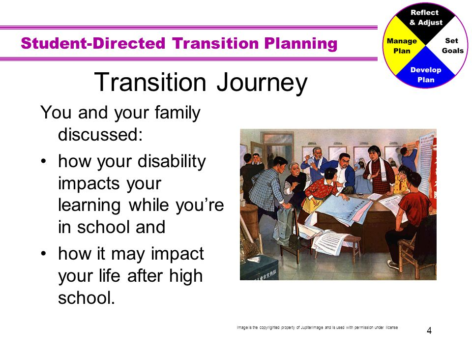 Student-Directed Transition Planning 4 Transition Journey You and your family discussed: how your disability impacts your learning while you're in sch