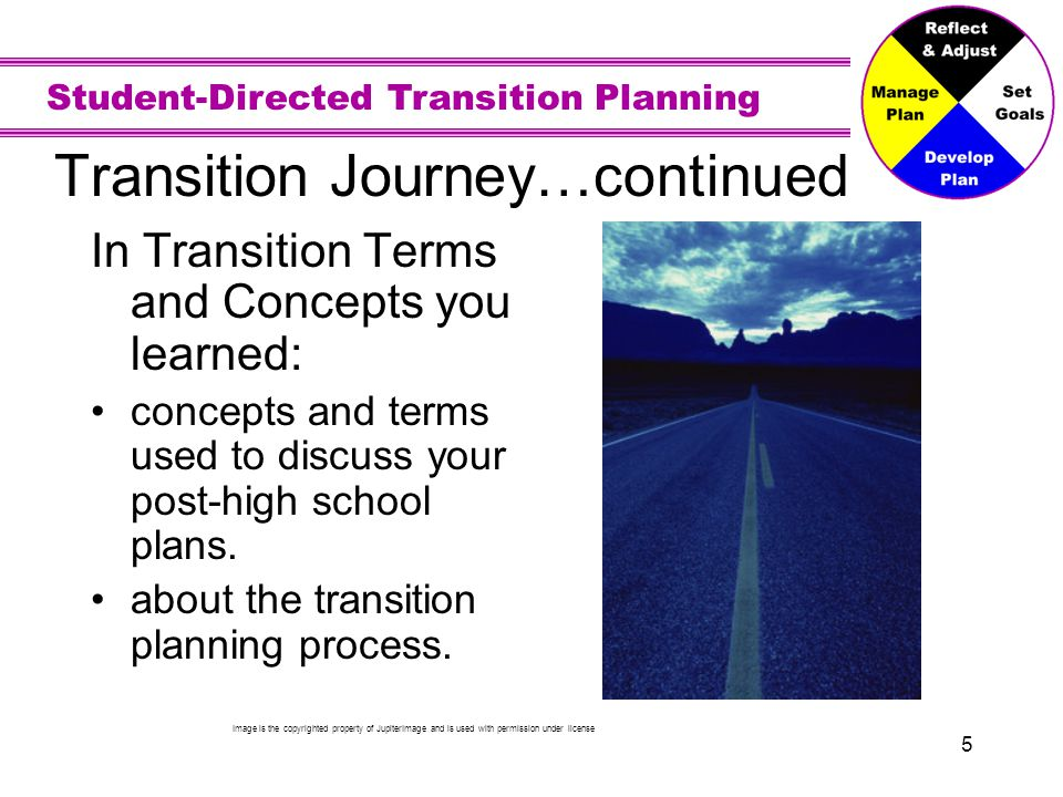Student-Directed Transition Planning 5 Transition Journey…continued In Transition Terms and Concepts you learned: concepts and terms used to discuss y