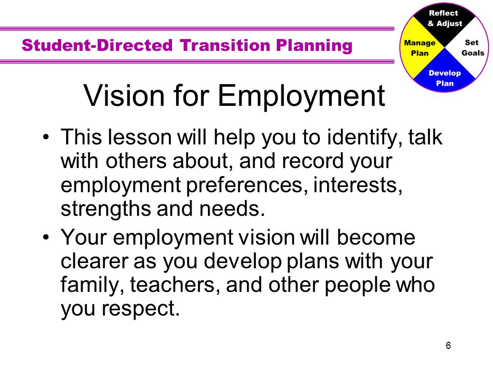 Student-Directed Transition Planning 6 Vision for Employment This lesson will help you to identify, talk with others about, and record your employment