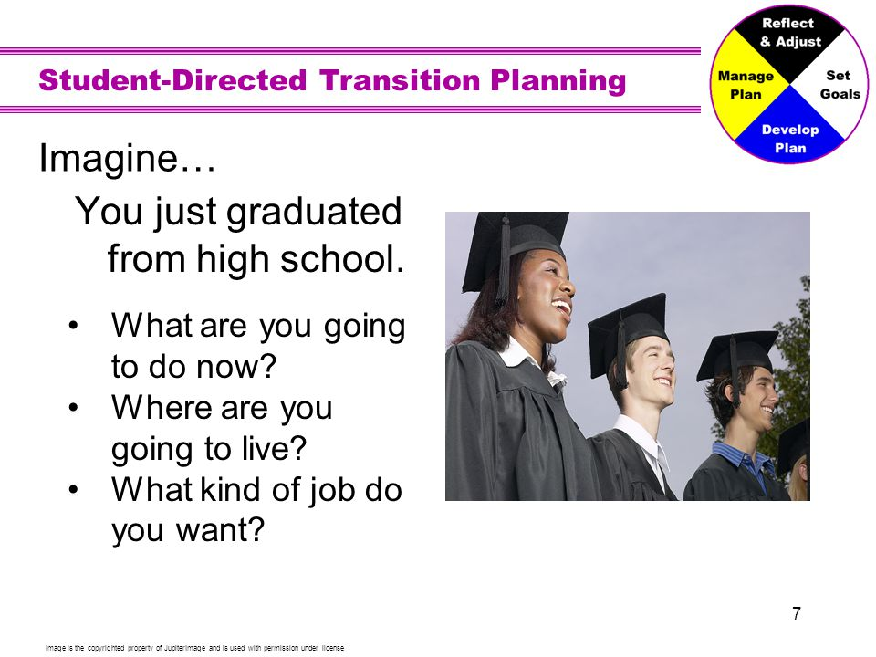 Student-Directed Transition Planning 8 Vision for Employment Your dream job to earn money so you can help others, feel good about yourself, live where you want, and have fun.