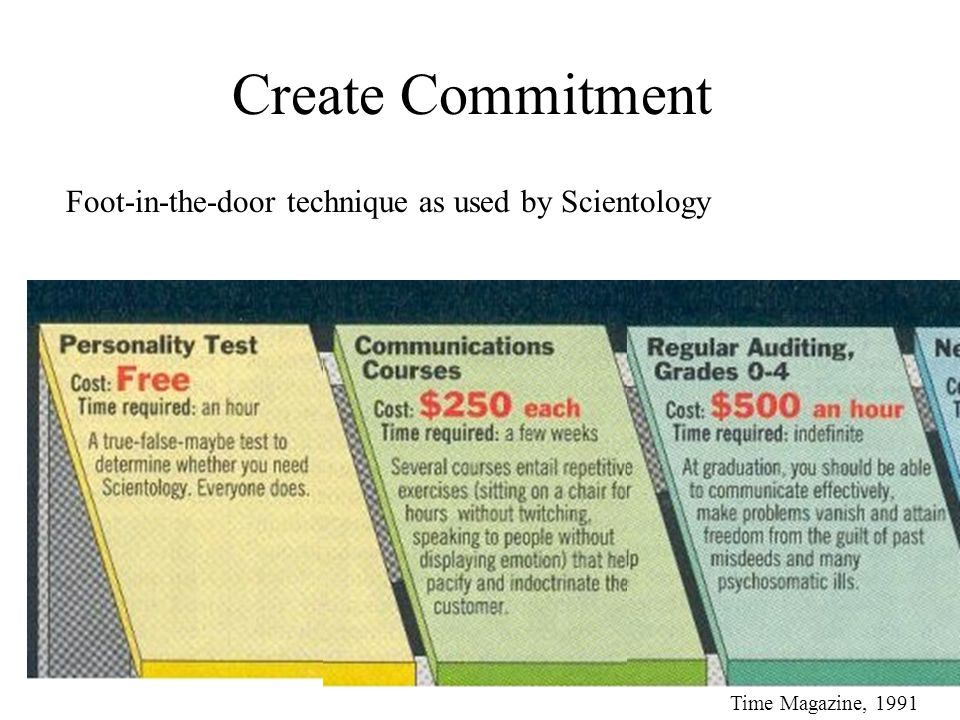 Create Commitment Foot-in-the-door technique as used by Scientology Time Magazine, 1991