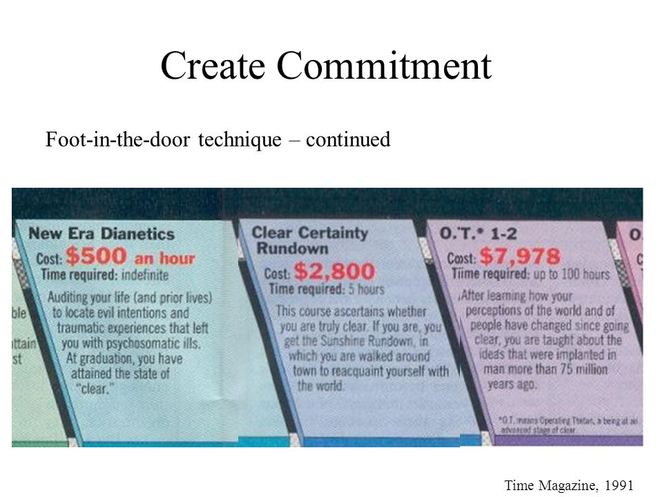 Create Commitment Foot-in-the-door technique – continued Time Magazine, 1991