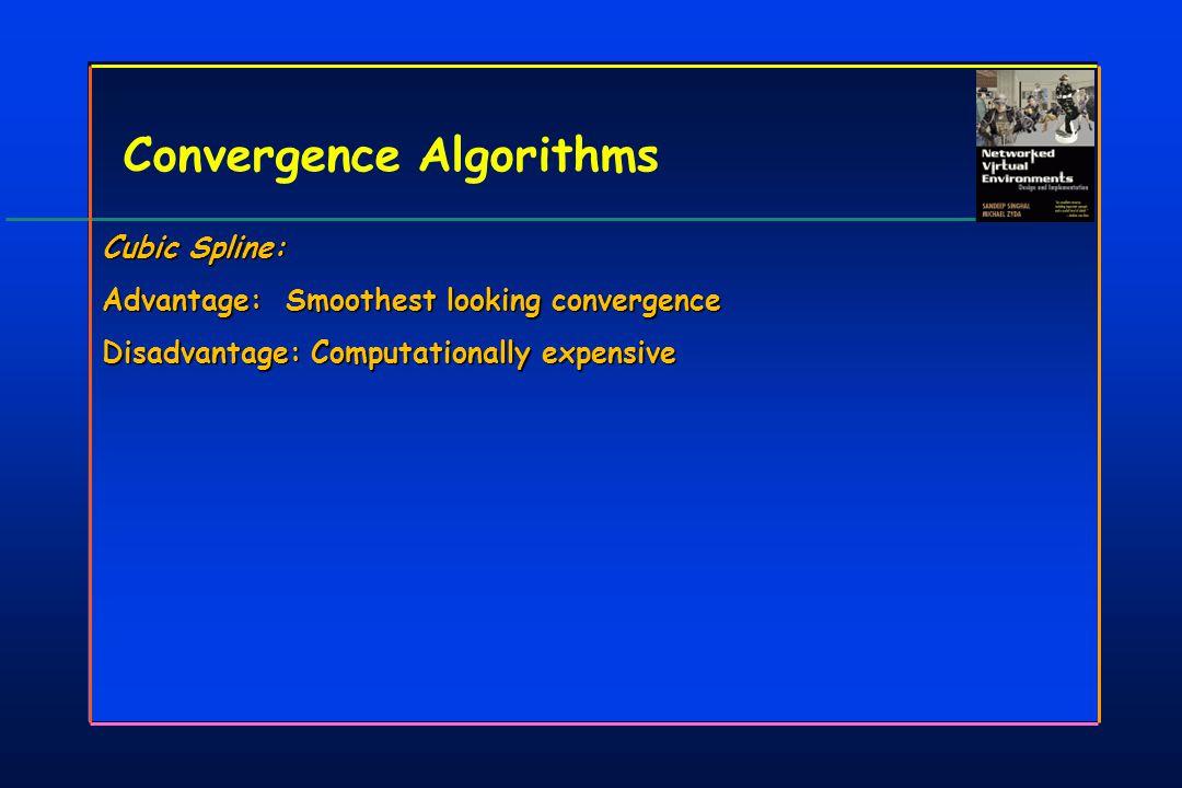 Convergence Algorithms Cubic Spline: Advantage: Smoothest looking convergence Disadvantage: Computationally expensive Cubic Spline: Advantage: Smoothest looking convergence Disadvantage: Computationally expensive