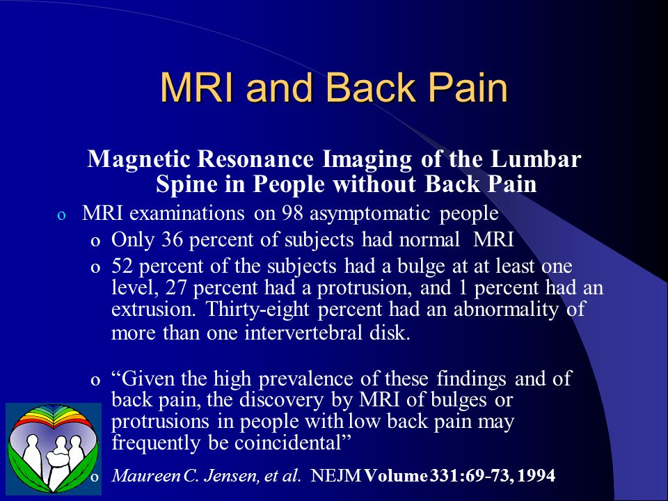 Predictors of Low Back Pain in People with Asymptomatic Abnormal MRI's Forty-six asymptomatic individuals who had a high rate of disc herniations (73%) were observed for an average of 5 years Low back pain was predicted by (P < 0.001): listlessness job satisfaction working in shifts o Boos et al.