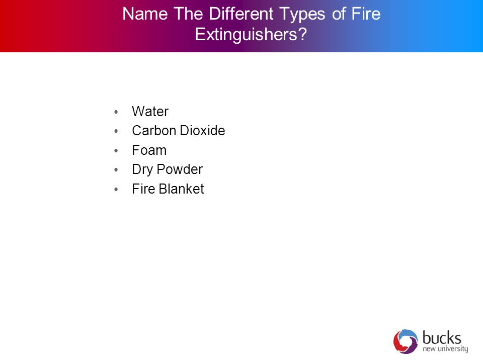 Name The Different Types of Fire Extinguishers Water Carbon Dioxide Foam Dry Powder Fire Blanket