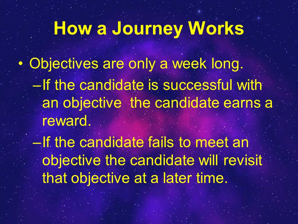 How a Journey Works Objectives are only a week long.