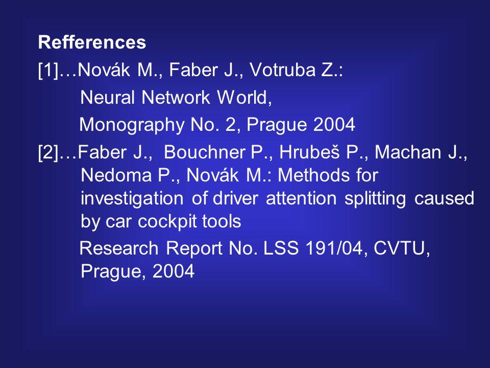 Refferences [1]…Novák M., Faber J., Votruba Z.: Neural Network World, Monography No.