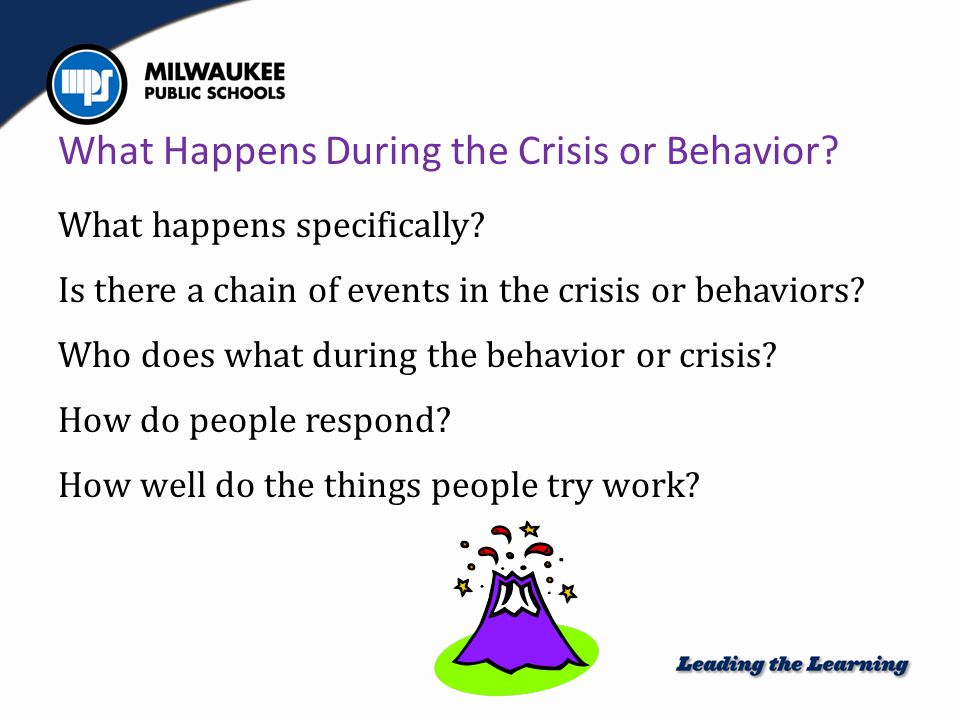 What Happens During the Crisis or Behavior.What happens specifically.
