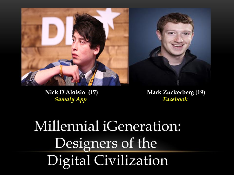 Nick D Aloisio (17) Sumaly App Mark Zuckerberg ( 19) Facebook Millennial iGeneration: Designers of the Digital Civilization