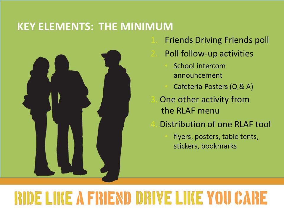 KEY ELEMENTS: THE MINIMUM 1.Friends Driving Friends poll 2.Poll follow-up activities School intercom announcement Cafeteria Posters (Q & A) 3.