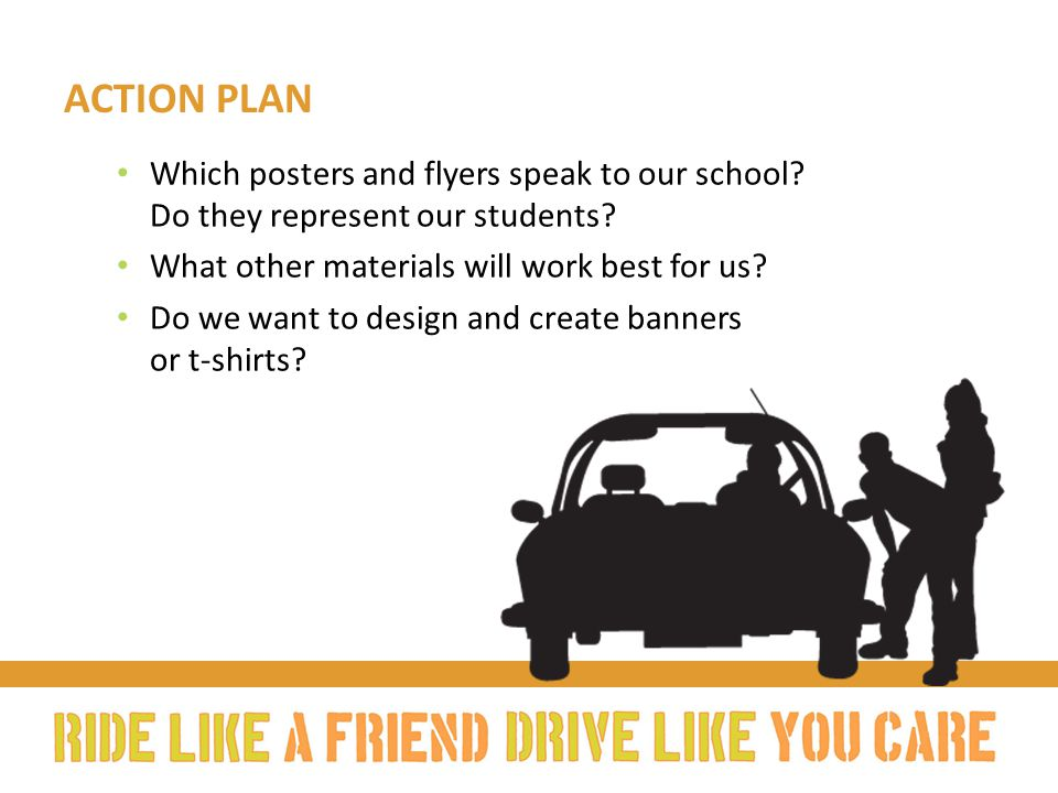 ACTION PLAN Which posters and flyers speak to our school.
