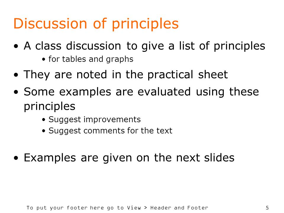 To put your footer here go to View > Header and Footer 6 UN report on principles – Table 1