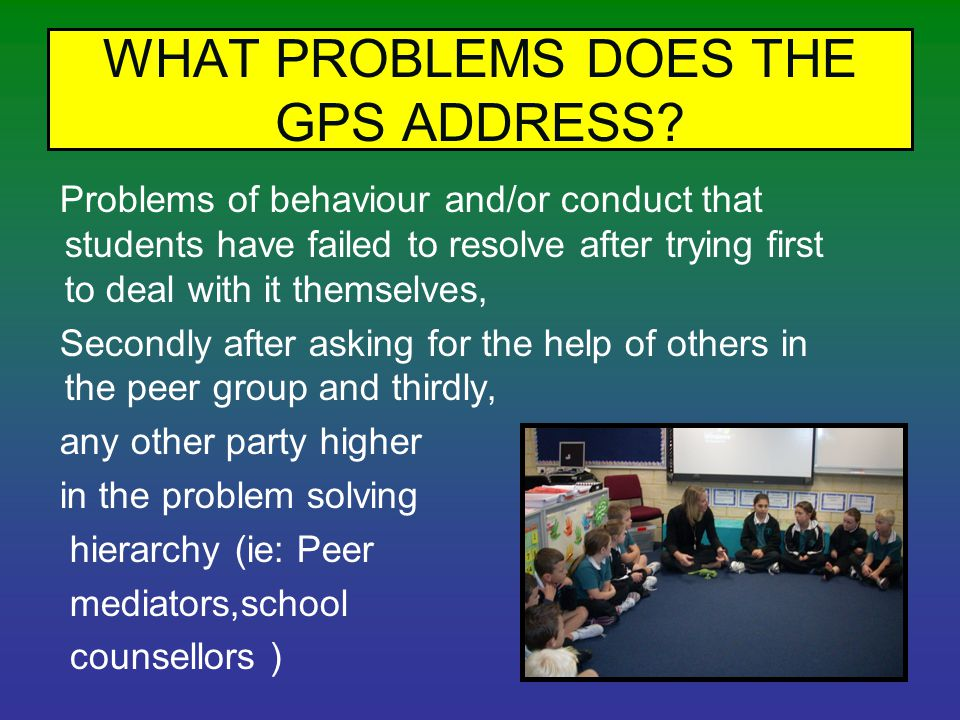 WHAT PROBLEMS DOES THE GPS ADDRESS.