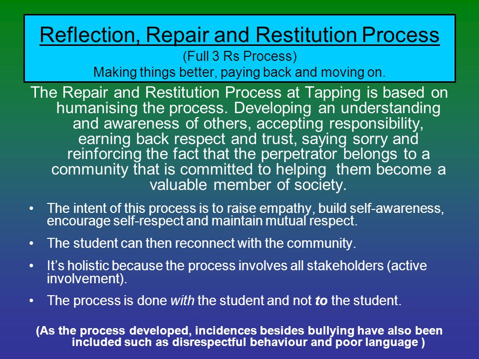 Reflection, Repair and Restitution Process (Full 3 Rs Process) Making things better, paying back and moving on. The Repair and Restitution Process at