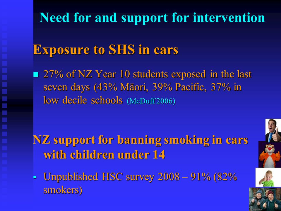 5Aim To investigate the views of NZ policymakers, on smoking around children To investigate the views of NZ policymakers, on smoking around children Method Method Qualitative case study – 59 interviews in 2008-9, plus documents Qualitative case study – 59 interviews in 2008-9, plus documents 'Policymaker' – defined as MPs, DHB board members, senior government and NGO officials 'Policymaker' – defined as MPs, DHB board members, senior government and NGO officials 16 Maori, 18 Pacific interviewees 16 Maori, 18 Pacific interviewees