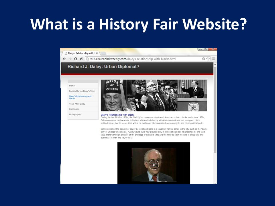 A History Fair website is a computer-based representation of a student's research and argument that is interconnected by hyperlinks.