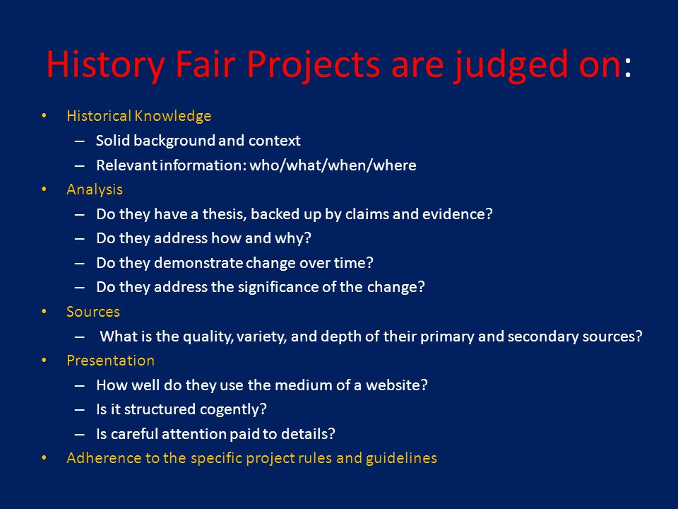 Thank You for Judging Students' History Fair Websites