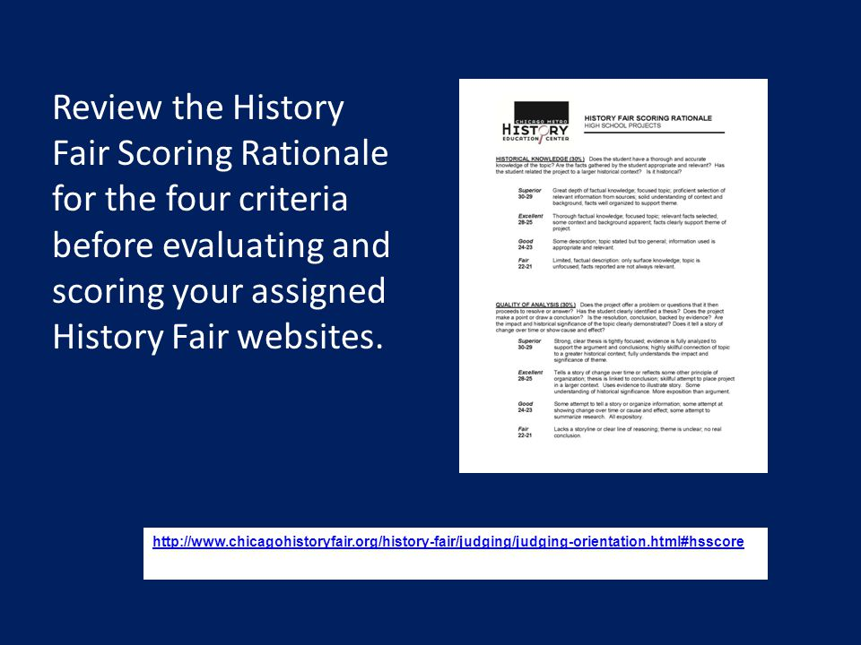 Website Rule 1 Topics must connect with Chicago or Illinois history in order to be considered competitive. The 2015 theme is Leadership and Legacy in History.