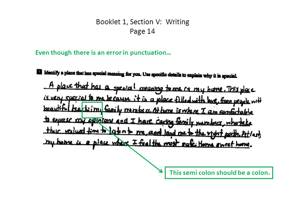 Booklet 1, Section V: Writing Page 14 Even though there is an error in punctuation… This semi colon should be a colon.