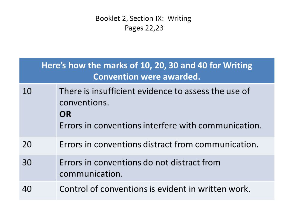 Booklet 2, Section IX: Writing Pages 22,23 Here's how the marks of 10, 20, 30 and 40 for Writing Convention were awarded.