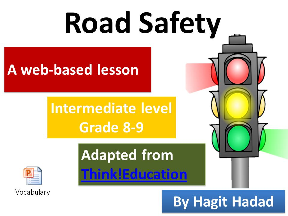Road Safety A web-based lesson Intermediate level Grade 8-9 Adapted from Think!Education Adapted from Think!Education By Hagit Hadad