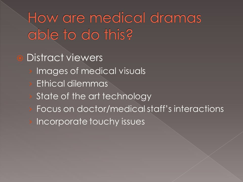  Distract viewers › Images of medical visuals › Ethical dilemmas › State of the art technology › Focus on doctor/medical staff's interactions › Incorporate touchy issues